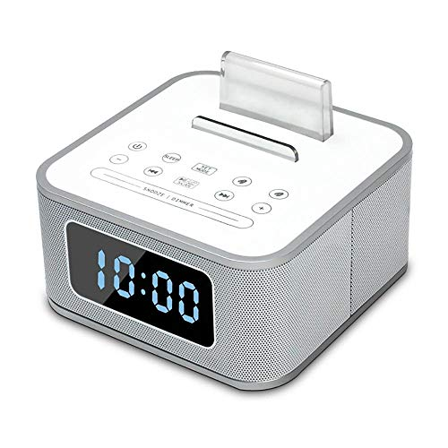 DD&K Docking Station Drahtloser Bluetooth Lautsprecher Doppelter Wecker UKW-Radio Mit Fernbedienung Ladestation USB-Ladevorgang Freisprechen Schlummern Für das Home Bed Head Office Hotel
