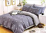 Slumber Suite Stampato Set Copripiumino Queen Comforter 100% Cotone, Reversibile, Louisiana by King (103' x 87') Blue Geometric Stipe