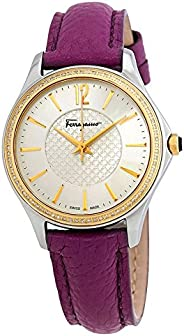 Salvatore Ferragamo Women's 'Time' Swiss Quartz Stainless Steel and Leather Casual Watch, Color:Pu