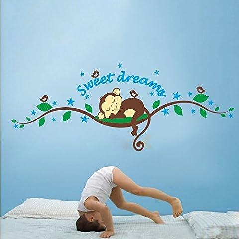 Eastlion Schöne Sweet Dream Affen und Baum-Vogel-Wand-Kunst-Aufkleber-Abziehbilder für Kinder Kinderzimmer Schlafzimmer, Wohnzimmer(Stil