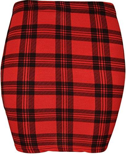 The Home of Fashion Damen Rot und schwarz Tartan Print Dehnbar Figurbetont Jersey Mini Rock Gr. XX-Large, Red and Black. Red Tartan Skirt
