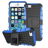 Custodia per iPhone 5/5S/SE, cover ibrida di grado militare, resistente agli urti, con doppio strato di plastica dura e morbido poliuretano termoplastico con supporto autoportante ammortizzato