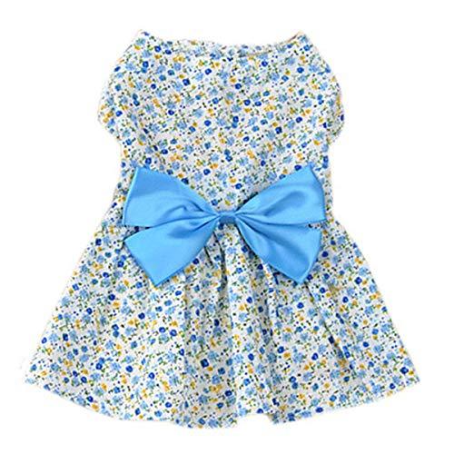 Cute Kostüm Princess - BigBig Style Pet Kleidung Cute Floral Puppy Princess Kleid Bowknot Ribbon Rock Pet Apparel Jacke Kostüme für Hund Katze (Color : Blue 16)