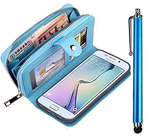 Samsung Galaxy Note 3 N9000 Coque l'argent Sac Carte Slots Cas Coque Bag,Vandot Samsung Galaxy Note 3 N9000 Phone housse etui pour Samsung Galaxy Note 3 N9000 fermeture eclair Cuir Housse Etui Commode La Vie Protection Cover + Stylet Universelle- Bleu