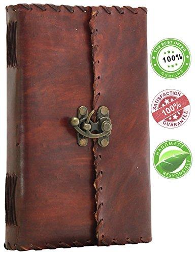 SouvNear 22,9 cm Diario Taccuino Notebook - design vintage , fatto a mano , in pelle , con serratura - Sketchbook Notepad Agenda giornaliero Diario - Pagine Bianche,