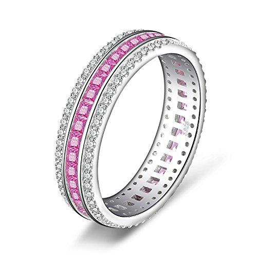 jewelrypalace X Mark 0,8Karat Prinzessschliff Erstellt Rosa Saphir Anhänger Soundeffekt) Sets Ring 925Sterling Silber (Rosa Saphir Set)