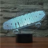 Interessante 3D Led Mode Sport Skateboard Tischlampe Usb Kinder Nachtlichter 7 Farben Ändern Home Decor Boy Skateboarder Geschenke