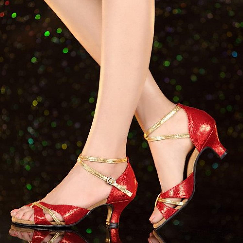 T.T-Q Damen Tanzschuhe Leder Patent Heels Cuban Heel Anfänger Blau