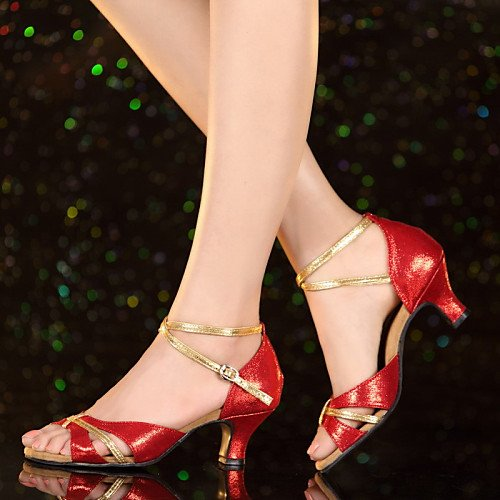 T.T-Q Damen Tanzschuhe Leder Patent Heels Cuban Heel Anfänger Gold Latin Sandalen Salsa Jazz Tango Swing Praxis Indoor Performance -