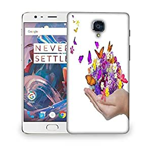 Snoogg hand holds flower spill many flowers and butterfly Designer Protective Back Case Cover For OnePlus 3T