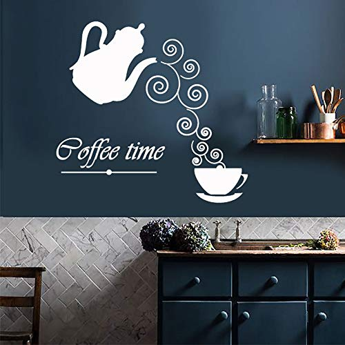 WWYJN Coffee Time Logo Kettle Cup Hot Drink Vinyl Wall Stickers Home Decor Kitchen Art Decals Mural  44x42cm