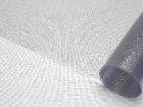 Transparente Folie mit Glitzer Effekt Silber, Glitter Metallic Tischdecke transparent, eckig Größe wählbar (200 x 140 cm)