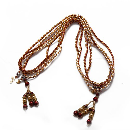 Akbari Traders Handicrafted Multi-Color Pearls & Stones Varmala / Jaimala for Unisex (Set of 2)