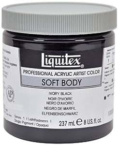 Liquitex Professional Soft Body Pot de Peinture acrylique fluide 237 ml Noir d'ivoire