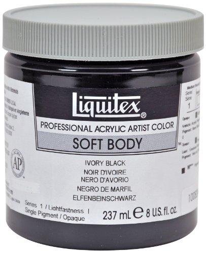 Liquitex-Colore acrilico professionale Soft Body, contenitore da 237 ml Nero avorio