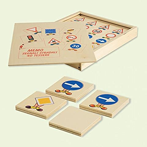 Dida -Memory Segnali Stradali. Il memo un gioco di memoria con tessere e scatola di legno