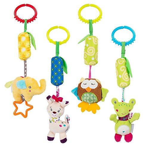 Tumama Bett Krippe Kinderbett Kinderwagen Baby Hängespielzeug mit Glocke Baby Plüschtier Säugling Karikatur Tier Rassel Puppe Packung mit 4