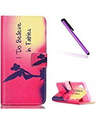 HTC Desire 626 / 626S Funda,EMAXELERS Synthetic PU Cuero Billetera Iman Dise?o Flip Stand Funda Cover Para HTC Desire 626 / 626S + Send 1 Stylus Pen Angel girl