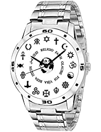 ZAVIO Black&White Dial Silver Metal Chain Belt Analog Watch For Mens And Boys