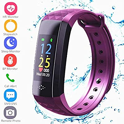 Fitness Tracker HR, Activity Tracker Sports Watch Smart Wristband with Pedometer Heart Rate Monitor Sleep Monitor IP67 Waterproof Call SMS SNS Alert for Men Women Kids Compatible for Android IPhone by Hocent