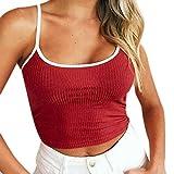 OVERDOSE Frauen Ärmellos Verstellbare Schultergurte Runden Hals Ärmelloses Crop Tops(A-Wine,EU-34/CN-S)
