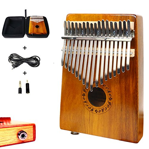 Gecko EQ Kalimba mit 17 Tasten, aus Koa-Akazien-Holz, mit eingebautem Tonabnehmer mit 6,35-mm-Audio-Schnittstelle, elektrisch, Kalimba-Koffer