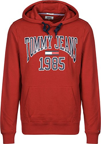 Tommy Jeans Herren Essential Graphic Langarm  Kapuzenpullover Rot (Samba 602) Large