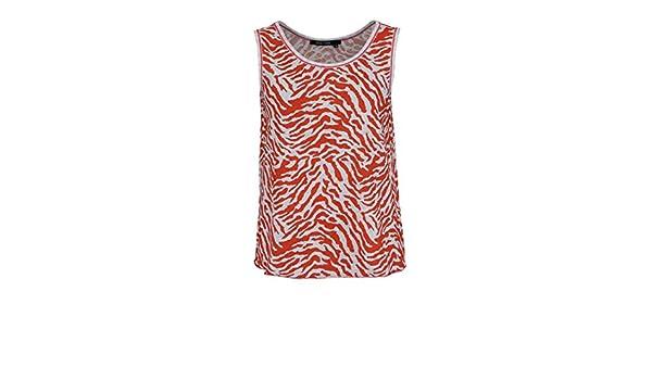 37a9810d65 Marc Aurel ärmelloses Top Rundhals Alloverdruck Muster Orange Größe 46:  Amazon.de: Bekleidung