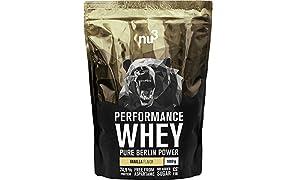 nu3 Performance Whey Protein - Vanille Geschmack 1 kg Proteinpulver - Eiweißpulver mit guter Löslichkeit - 22,5 g Eiweiß je Shake mit 30 g - plus Whey-Isolat & BCAAs - Vanilla Blend