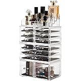 Readaeer Organizador de Maquillaje con 12 Niveles Ajustables, Caja de Almacenamiento Multi-funcional (transparente) (Blanco)