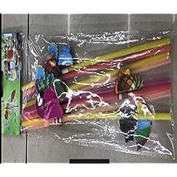 100pajitas de beber desechable–Hawaiian Luau Party pajitas de plástico para de cóctel Tropical playa de novia, partes suministros con flamencos, palmera, Lei, Flip Flop, diseños de piña