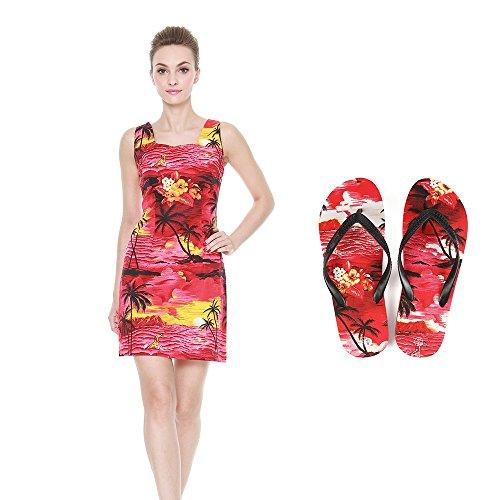 Dame passt Hawaiian Luau Outfit Aloha - Eng geschnittenes Tankkleid und Flip Flops im Sonnenuntergang rot Ausgestattetes Tankkleid M Sandale 9 (Luau Kleidung Hawaiian)