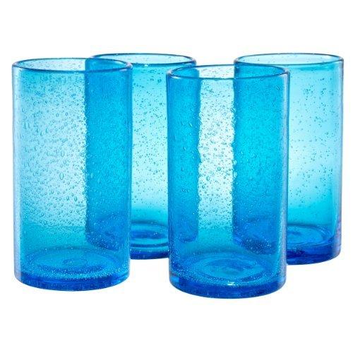 Artland Iris Highball Glasses, Turquoise, Set of 4 by Artland (Highball Iris)