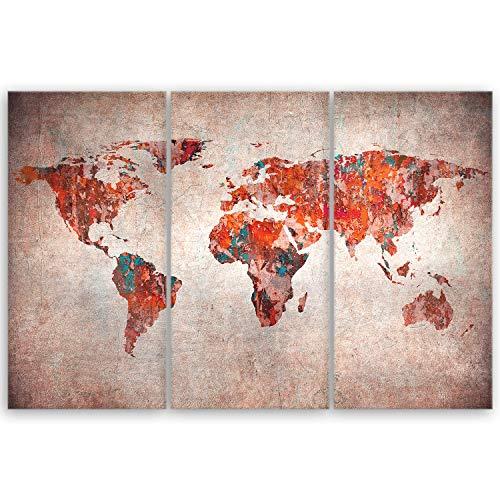 ge Bildet® hochwertiges Leinwandbild XXL - Weltkarte Retro - Weltkarte Leinwand - 120 x 80 cm mehrteilig (3 teilig) 2202 H