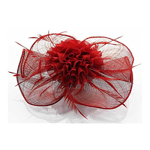 LeahWard Klein Größe Elegante Fascinator Hairclip Veil Hat Feather Mesh Hochzeit Races Qualität Comb / Clip CWHA004 CWH0078-Rot