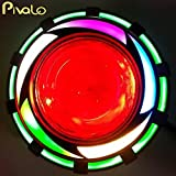 #8: Pivalo High Intensity Projector Lamp Led Headlight with High/Low Beam and Flasher Function Stylish Dual Angels Eye Ring for Bikes,Cars, SUVs and Motorcycle (Green & Rainbow)