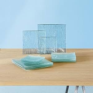Vaisselle square Service de 18 assiettes en verre transparentes Transp