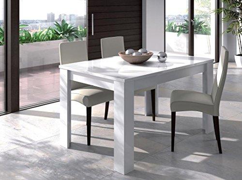 Sermahome tavolo da pranzo allungabile modello practice medidas: 90x140-190 cm. bianco lucido