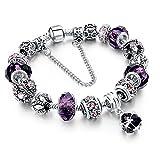 Beloved ❤️ Damenarmband mit Kristallen - Pandora kompatibel - mit Perlen und Anhängern - versilberte Perle, Glas und Kristalle - mit dekorativer Kette - Anhänger (Violett)