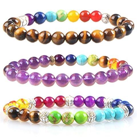 MIKINI Unisex Womens 7 Chakra Bracelets Black Onyx Amethyst Healing Energy Stone Mala Bracelets - Pack of 3 (Amethyst/Matte Black Onyx/Tiger Eye