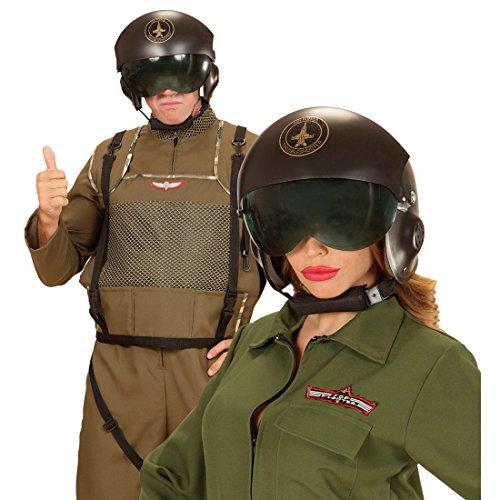 Amakando Jet Pilotenhelm Fliegerhelm Pilot mit Visier Jethelm Air Force Top Gun Piloten Helm Karnevalskostüme Zubehör Flieger Kostüm Accessoire Pilothelm ()
