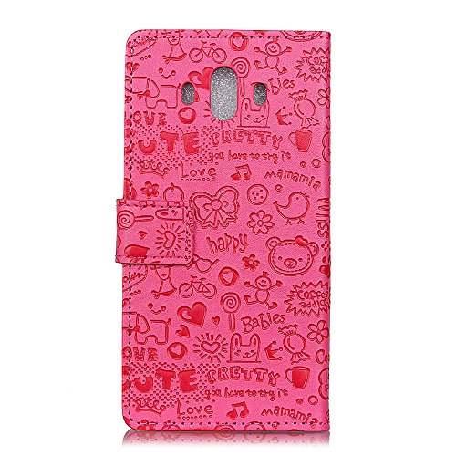 Huawei Mate 10 Funda Faux Cuero Billetera Funda para Huawei Mate 10 con Stand Funci  n Rosa roja