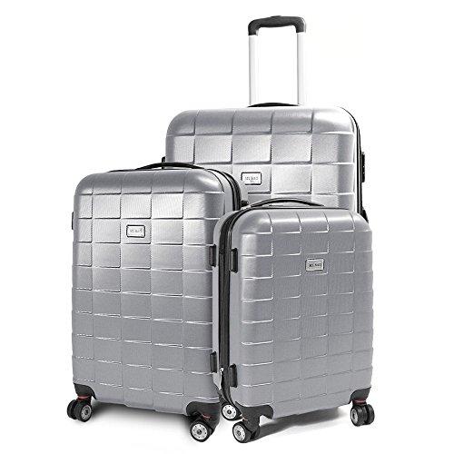 BERWIN Kofferset 3-teilig Reisekoffer Koffer Trolley Hartschalenkoffer ABS Teleskopgriff Modell Squares (Silber)