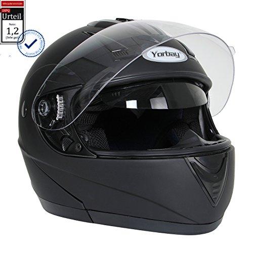 Yorbay Motorradhelm Integralhelm Doppelvisier mit integrierter Sonnerblende in verschienden Größen (M, Schwarz matt)