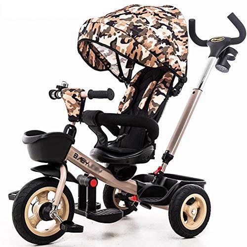 GUO@ Kids Trike 3 Wheeler Triciclo para NiñOs Asiento Giratorio Respaldo Reclinable Carro De Bebé...
