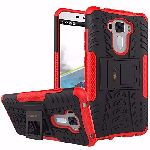 Heartly Tough Shock Proof Rugged Armor Back Case For Asus Zenfone 3 Laser Zc551Kl (5.5 Inch) - Hot Red