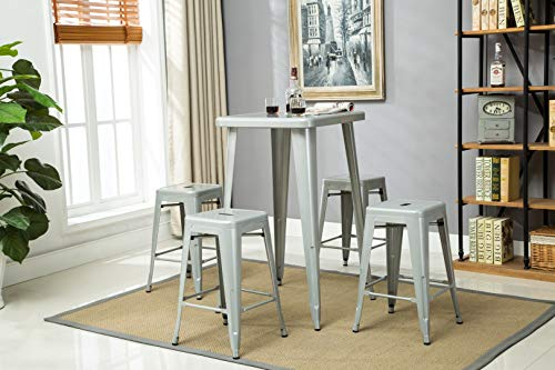 Porthos Home zfc002a SLV stapelbar Indoor & Outdoor Metall Terrasse Tresenhocker, 61cm Sitz Höhe (Set von 4) Bar, Einheitsgröße, Silber