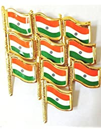 Indian National Flag Brass Lapel Pin / Brooch / Badge For Clothing Accessories (Pack Of 10 )