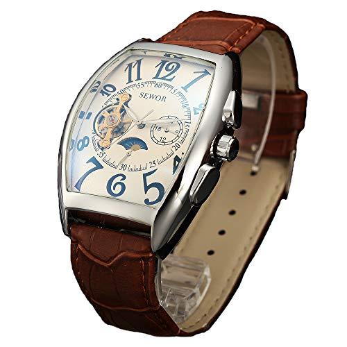 Sewor lusso uomo Tourbillon Moon Phase meccanico automatico orologio da polso con fascia in vetro rivestimento blu (Bianco)