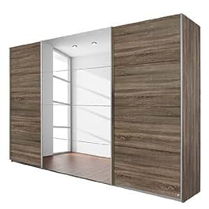 Rauch Packs Armoire à portes coulissantes Quadra - Avec miroir Imitation chêne de Havane 181 x 210 cm